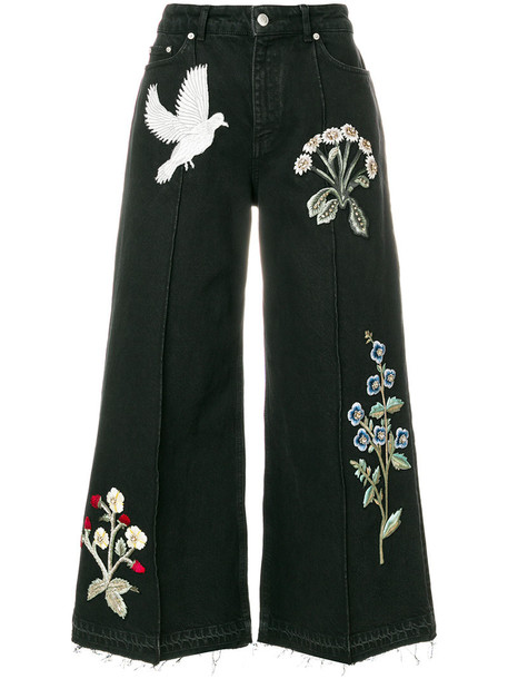 jeans embroidered women cotton black