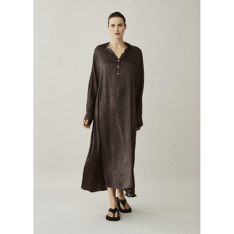 Porto Brown Mosaic Silk Dress