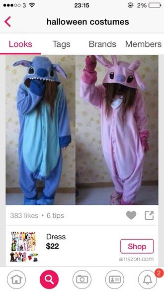 pajamas onesie lilo and stitch blue pink