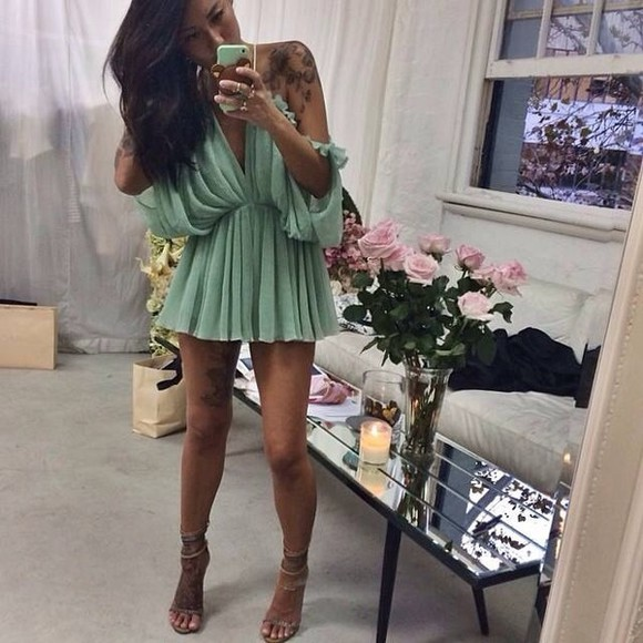 green mint dress