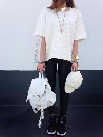 white bag bag golden watch outfit golden necklace black shoes