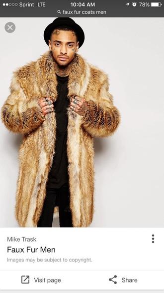 coat faux fur fur menswear brown tan faux fur coat