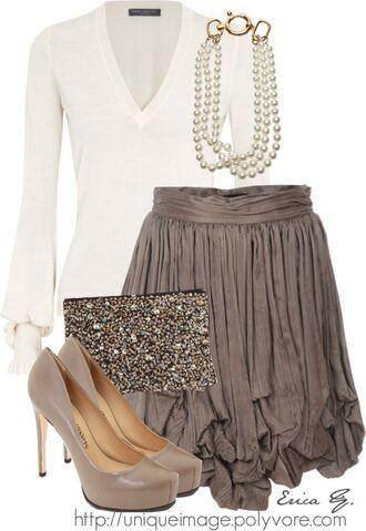 brown skirt skirt cream sweater clutch taupe high heels flowing beaded clutch pearl nude high heels vintage blouse