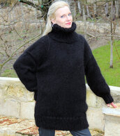 sweater,hand,knit,made,black,turtleneck,supertanya,fluffy,soft,angora,wool,cashmere,alpaca