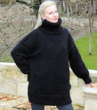 sweater hand knit made black turtleneck supertanya fluffy soft angora wool cashmere alpaca