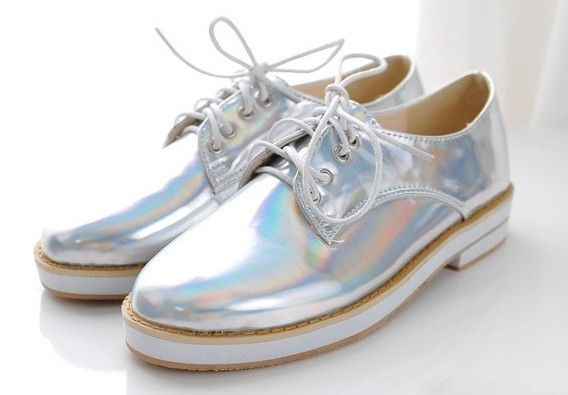 Galaxy leather hologram holographic sliver metallic sliver oxford shoes unif amo