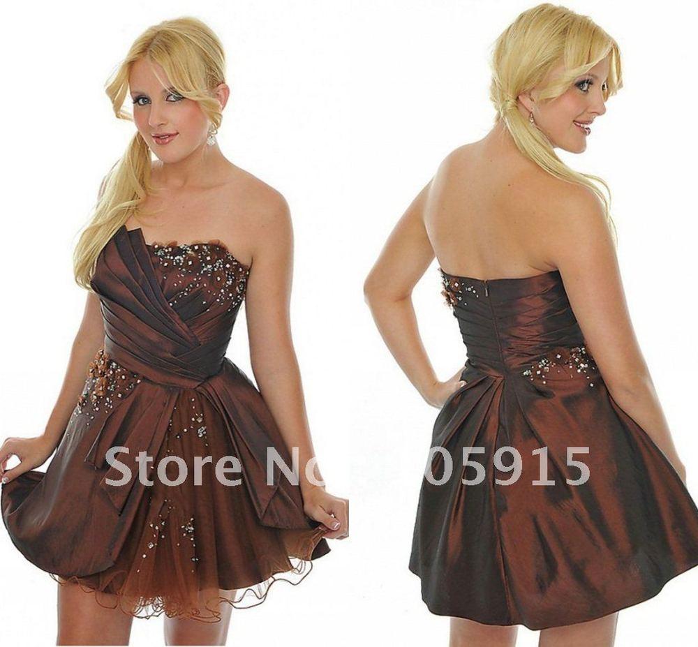 ( Mn  71) neue mode trägerlosen braun ein  linie perlen lovley homecoming kleider