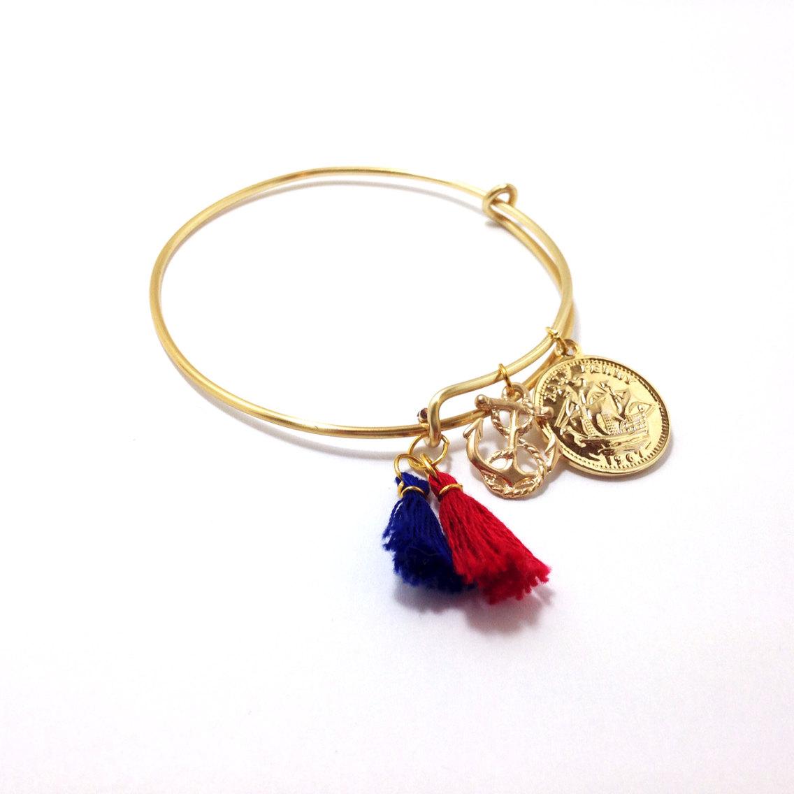 Anchor bangle, gold bangle, dainty bangle bracelet, simple bangle bracelet, anchor bracelet, nautical jewelry, nautical bracelet