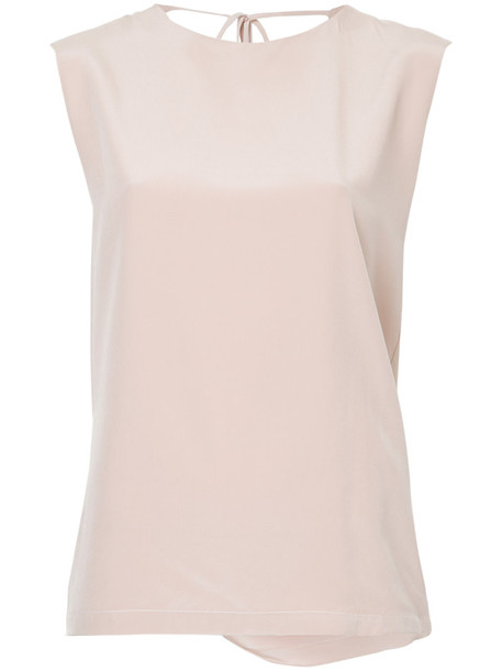 Kacey Devlin top draped top back women draped silk purple pink