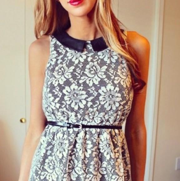 peter pan collar dress lace dress black fashion white dress
