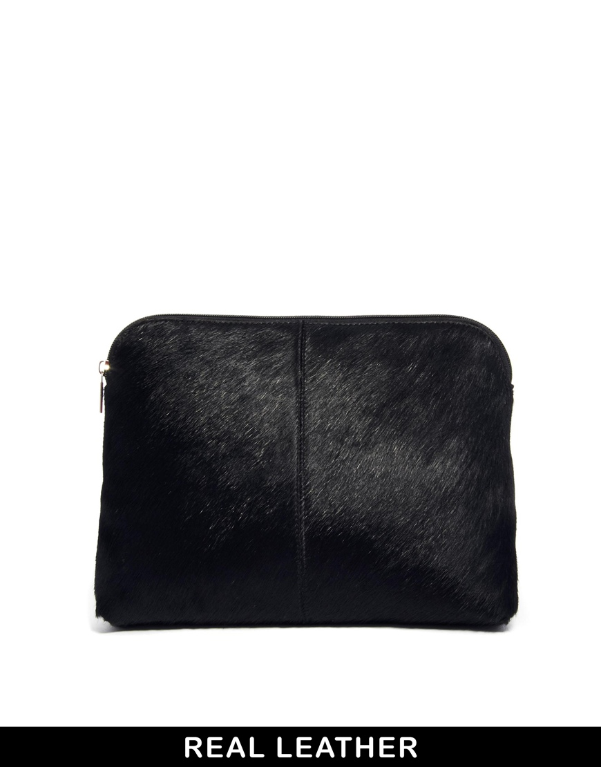 ASOS Leather Clutch Bag In Pony And Soft Construction at asos.com