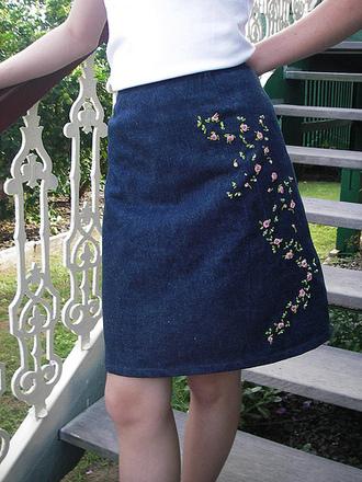 skirt embroidered denim skirt midi skirt embroidered embroidered skirt blue skirt top white top