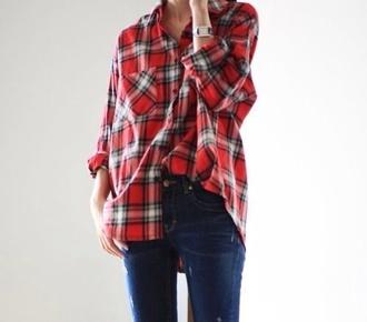 t-shirt red shirt plaid shirt