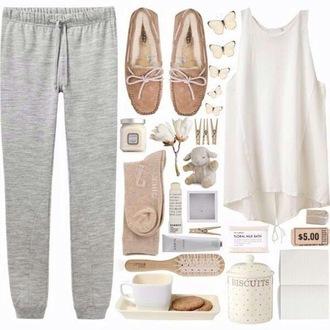 pants grey pants beige shoes chill mode t-shirt