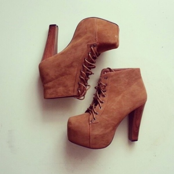 brown suede lace up square toe chunky heel platform