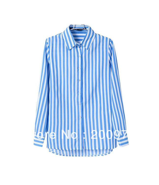 2013 new women autumn Lapel blue white vertical stripes shirt blouse St S M L-in Blouses & Shirts from Apparel & Accessories on Aliexpress.com | Alibaba Group