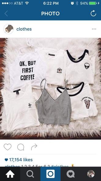 shirt tumblr grunge black white coffee alien brandy melville ghost crop tops