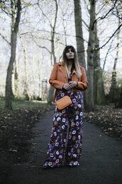 she wears fashion,blogger,jumpsuit,shoes,bag,red jacket,cropped leather jacket,cropped jacket,floral jumpsuit,crossbody bag