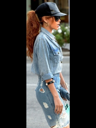rihanna denim jacket hat streetwear streetstyle swag denim leather cap denim shirt ripped skirt denim skirt skirt