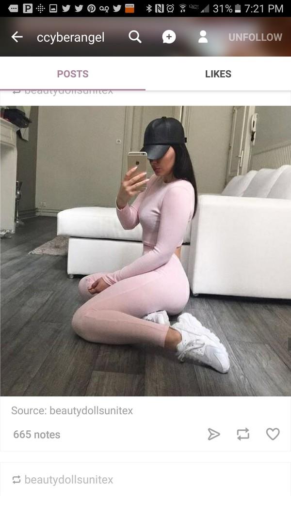 jumpsuit leggings pink fashion