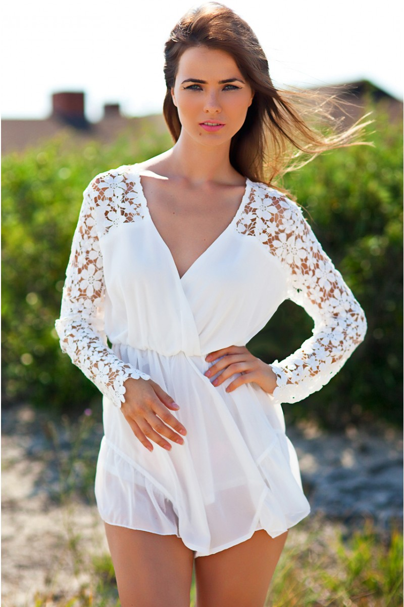 White Lace Playsuit | Haute Rogue
