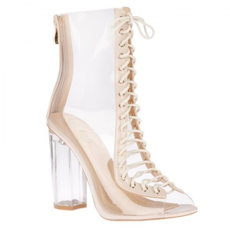 shoes clear boots transparent shoes high heels boots lace up heels vue boutique