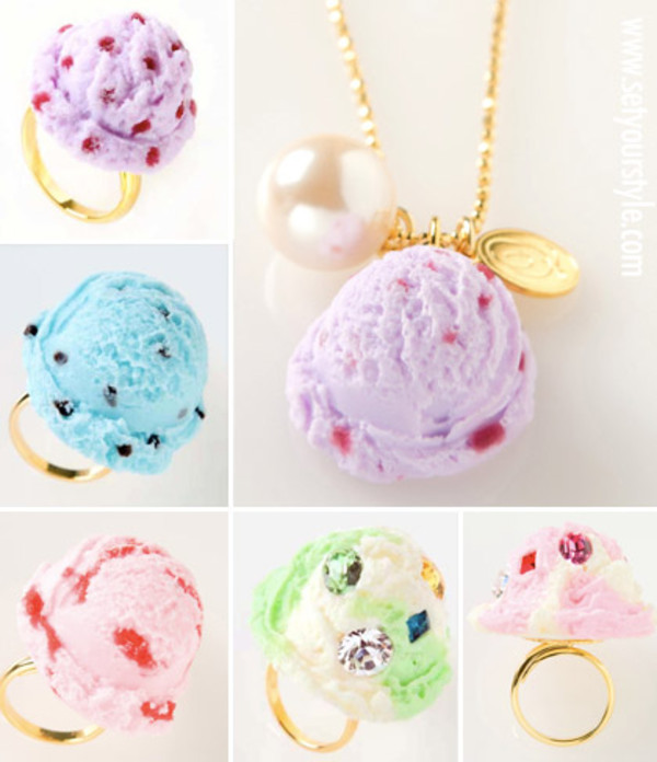 jewels purple pink baby blue ice cream ring