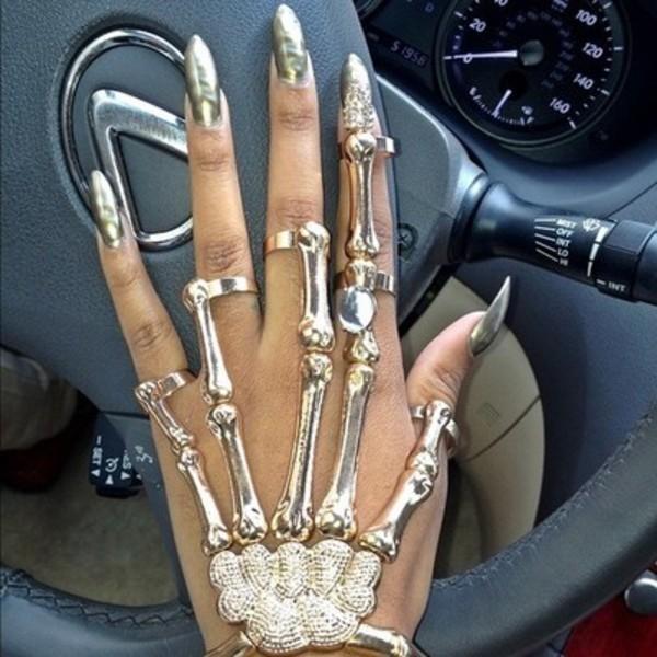 jewels skull skeleton gold ring skeleton ring ring bracelet with ring ring bracelet skeleton bracelet halloween