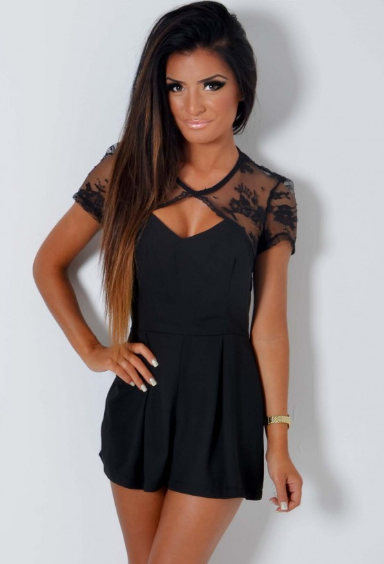 Celebrity-inspired fashion for Women Darwin Black Lace Keyhole Playsuit Pink Boutique