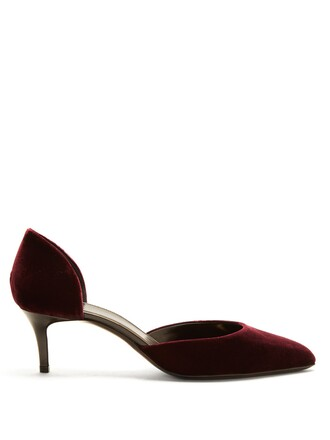 pumps velvet burgundy shoes