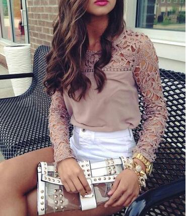 Crochet trim blouse