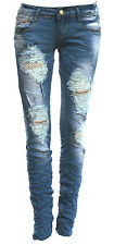 womens/ladies low rise skinny/slim fit ripped jeans size 6-14 A244 | eBay