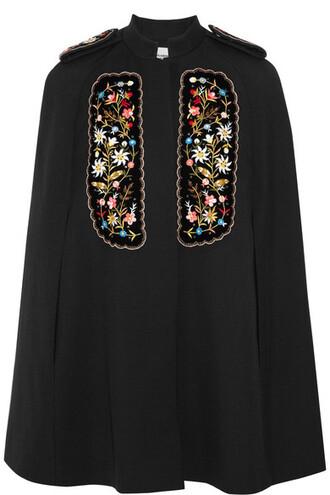 cape embroidered black velvet top