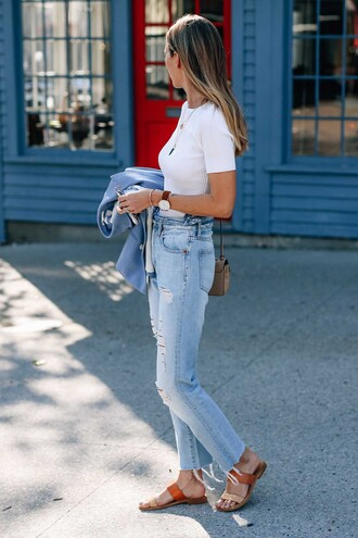 jacket tumblr blue blazer jeans denim blue jeans ripped jeans slide shoes top white top jewels