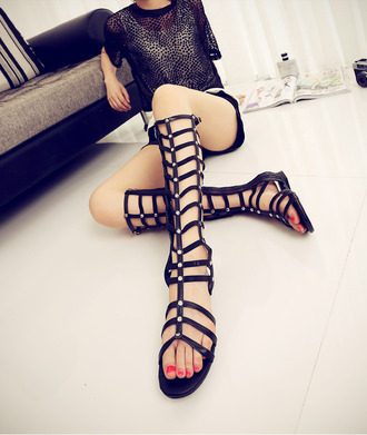 shoes sandals gladiator fashion black summer outfits udobuy hot flat knee high girl
