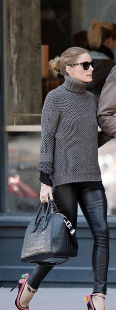 wool olivia palermo grey sweater turtleneck leather pants sweater