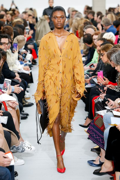 coat dress mustard fringes celine Paris Fashion Week 2017 model runway pumps shirt dress