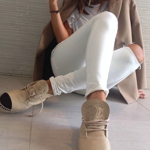 shoes chanel chanel shoes white jeans ripped jeans coat white t-shirt fall outfits espadrilles