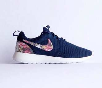shoes air max nike nike roshe run running shoes nike air nike shoes nike sneakers blue floral flowers cute