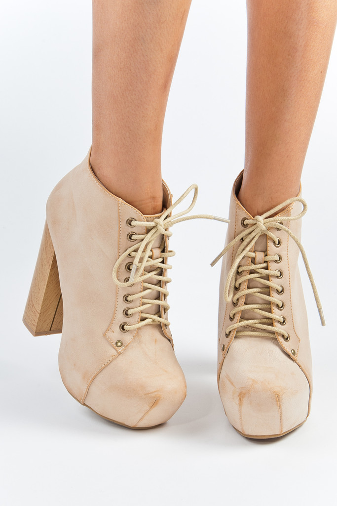 Lace up nude flushed platforms