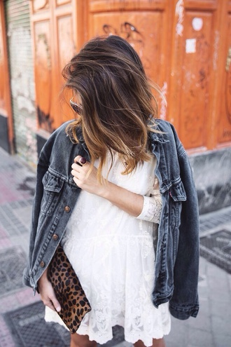 lace dress denim jacket white dress vintage hipster colour design little white dress denim jacket style designer