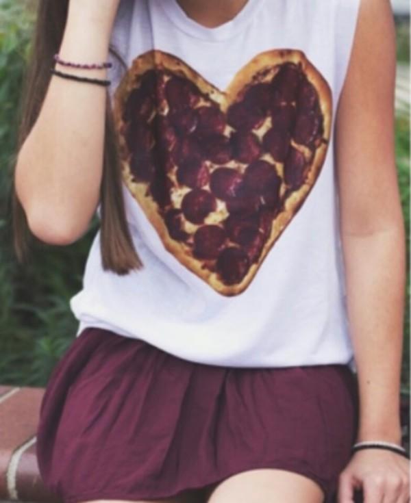 blouse pizza burgundy skirt shirt tank top