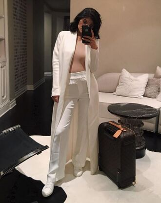pants coat bodysuit white kylie jenner instagram sneakers fall outfits top