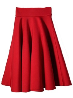 Red high waist pleat zipper skirt