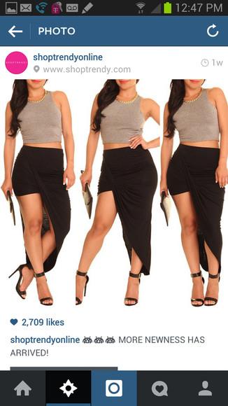 black skirt amelia skirt black skirt long black skirt brown top black heels black scandals scandals