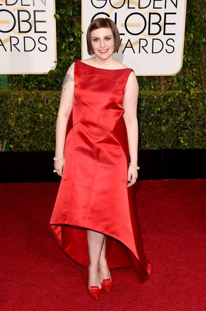 dress red dress lena dunham zac posen Golden Globes 2015 shoes red shoes asymmetrical dress