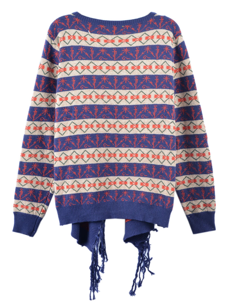 Blue Geo Patterned Knit Cardigan with Tassel Trim - Choies.com