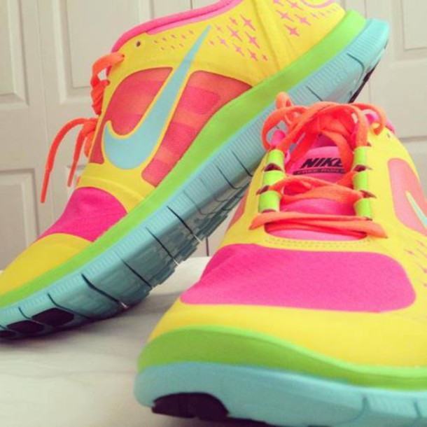 half off ad588 3dd80 shoes nike free run customized yellow pink green orange nike running shoes  running trainers trainers nike
