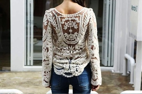 Outletpad   Lace Embroidered crochet Casual shirt blouse tops blusas Long sleeve Beige   Online Store Powered by Storenvy