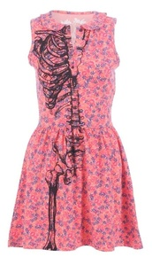 dress,floral,skeleton,flowers,pink,blue,purple,pretty,summer,summer dress